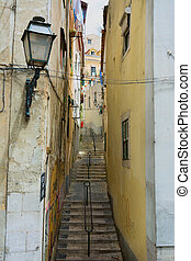 Backstreet view in Lisbon Portugal - View along typical...
