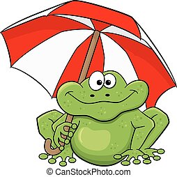 cartoon frog with umbrella - vector illustration of a...