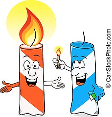 cartoon of a birthday candle that ignites another candle -...