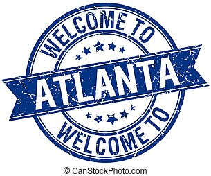 welcome to Atlanta blue round ribbon stamp
