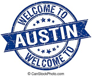 welcome to Austin blue round ribbon stamp