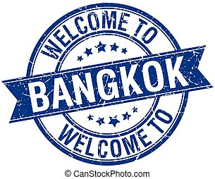 welcome to Bangkok blue round ribbon stamp