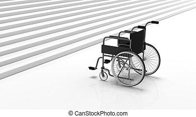 Black disability wheelchair near white stairs