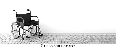 Black disability wheelchair near clean white wall