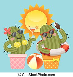 the loving couple of cactus with summer theme