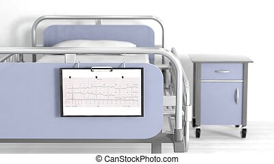 Hospital bed and bedside table with focus on patient sheet...