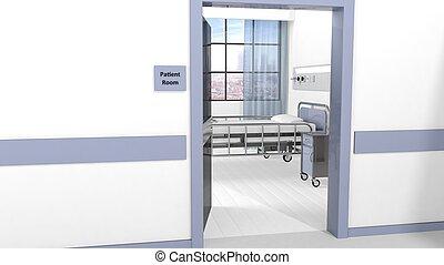 Hospital patient room view from hallway with open door