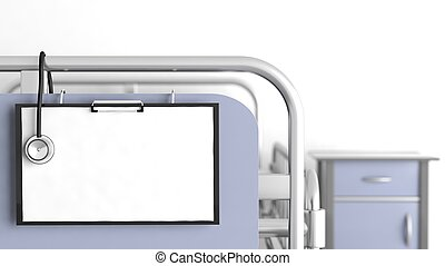 Hospital bed with focus on blank patient sheet with...