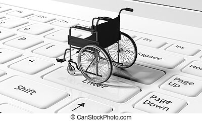 Wheelchair on black laptops keyboard, conceptual