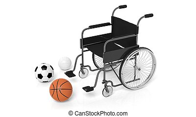 Wheelchair with basketball,soccer and volleyball balls isolated on white