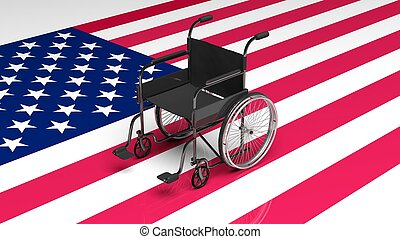 Wheelchair on United States of America flag
