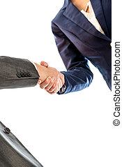 Businesspeople shaking hands to close a business deal, in...