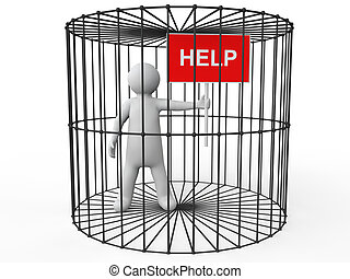 3d man in cage asking for help - 3d render of a man in cage...