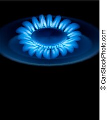 blue burning gas gas stove - vector background with blue...