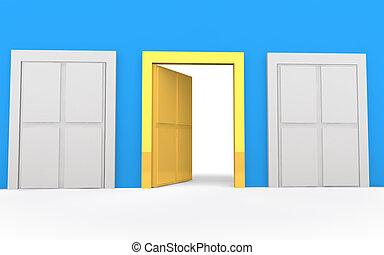 3d golden open door of opportunity
