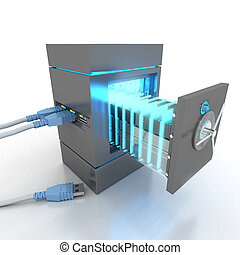 Data safety - 3D rendering of a usb cable connected to a...