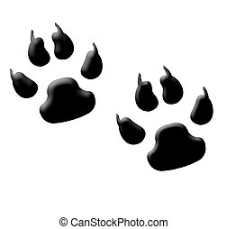 Monster footprints - Illustration of two monster or animal...