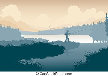 Wilderness angler - EPS8 editable vector illustration of an...