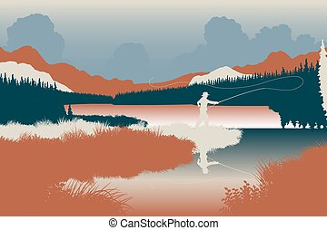 Wilderness fishing - EPS8 editable vector illustration of an...
