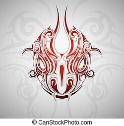 Snake head tattoo - Monster snake head tattoo shape with...