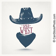 Wild West - Cowboy hat and scarf, wild west, eps 10