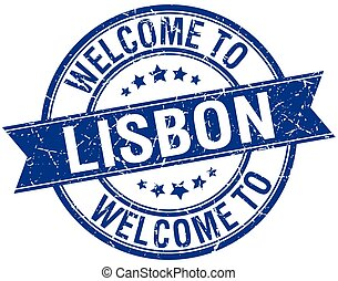 welcome to Lisbon blue round ribbon stamp