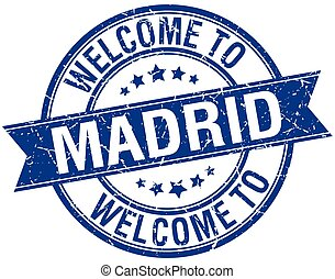 welcome to Madrid blue round ribbon stamp