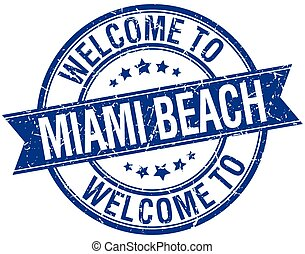 welcome to Miami Beach blue round ribbon stamp