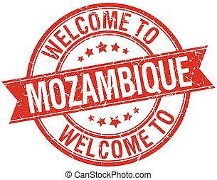welcome to Mozambique red round ribbon stamp