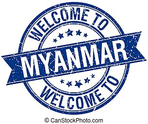 welcome to Myanmar blue round ribbon stamp