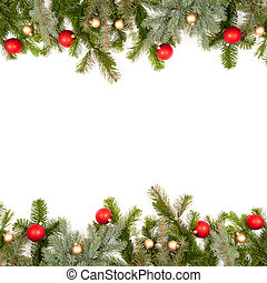 green fir twig frame with christmas balls on white...