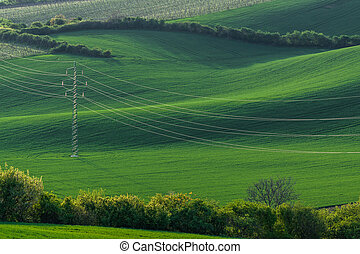 High-voltage power line on background of green field of...