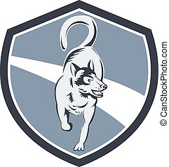 Husky Dog Crest Retro - Illustration of a siberian husky dog...