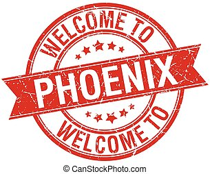welcome to Phoenix red round ribbon stamp