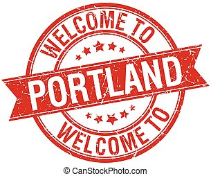welcome to Portland red round ribbon stamp