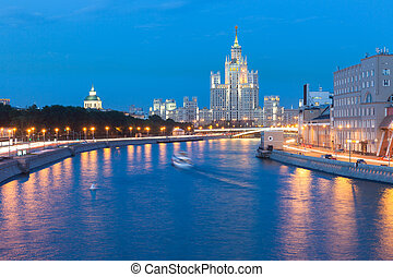Kotelnicheskaya Embankment Building - Dusk view of the...