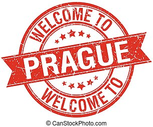 welcome to Prague red round ribbon stamp
