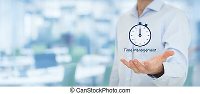 Time management and deadline concept Businessman with clock...
