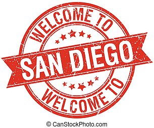 welcome to San Diego red round ribbon stamp