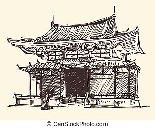 Sketch Chine Japan Landmark Vintage Illustration - Sketch of...