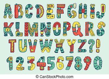 Vector Cartoon Colorful Robot Font Type - Vector Cartoon...