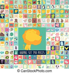 Cute Cartoon Animals Set, Vector Hand Drawn