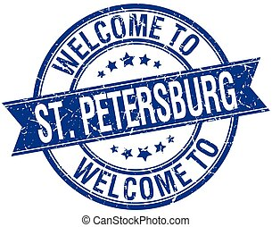 welcome to St Petersburg blue round ribbon stamp