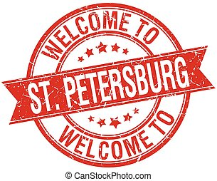 welcome to St Petersburg red round ribbon stamp