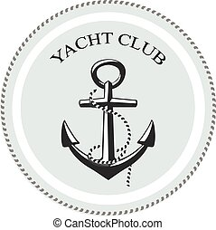 Vector yacht club logo, anchor on a white background....
