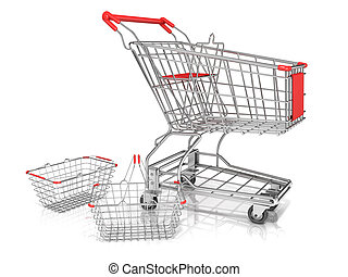Shopping baskets and cart - Steel wire shopping baskets and...