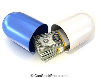 Blue pill capsule, with dollars - Opened blue pill capsule,...