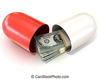 Red pill capsule, with dollars - Opened red pill capsule,...