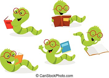 Bookworm Set - Vector illustration of cute little bookworms