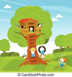 Tree house - Cute little kids enjoying tree house.